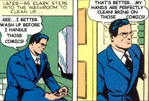 clark kent, washing hands, handling comic books